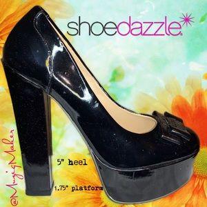 SHOEDAZZLE Black Platform Shoes. Size 7